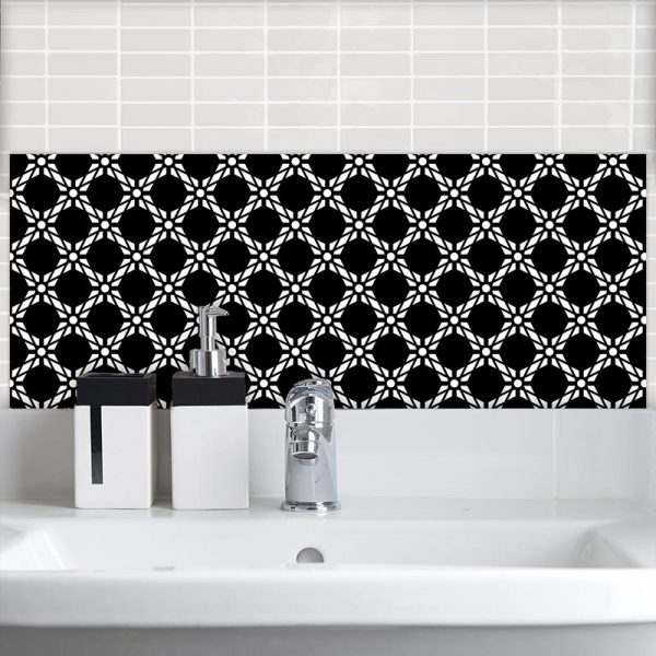Image of Antlia black bold geometric design. Wonderful geometric Feature wall Tile design from forthefloorandmore.com