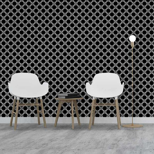 Image of Antlia black bold geometric design. Wonderful geometric feature wallpaper design from forthefloorandmore.com