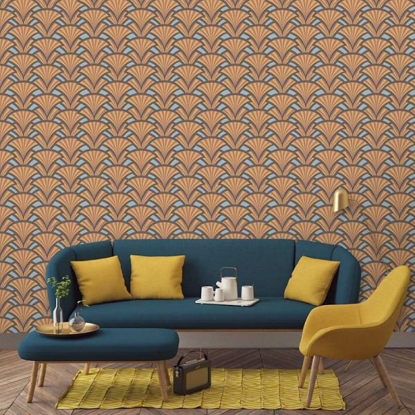Excelse art deco style pattern wallcovering. Unique made to measure wallpaper design from forthefloorandmore.com