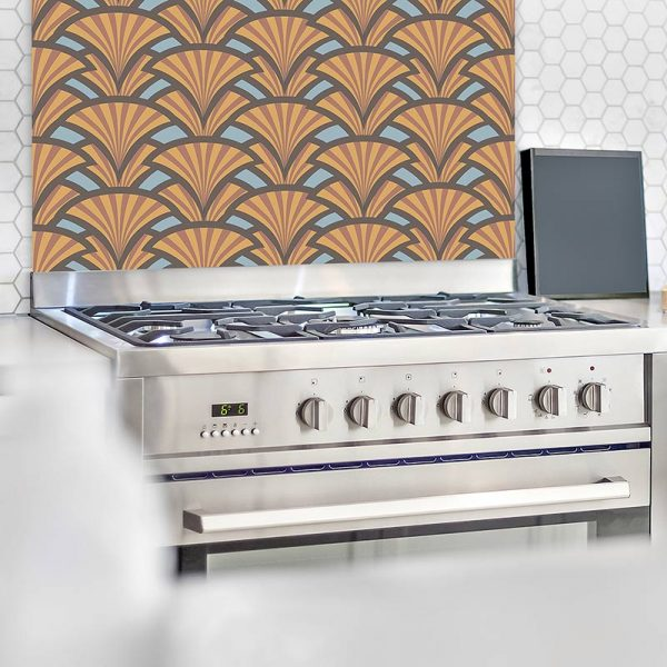 Image of Excelse art deco style pattern glass patterned splashback. Unique glass printed splashbacks design from forthefloorandmore.com