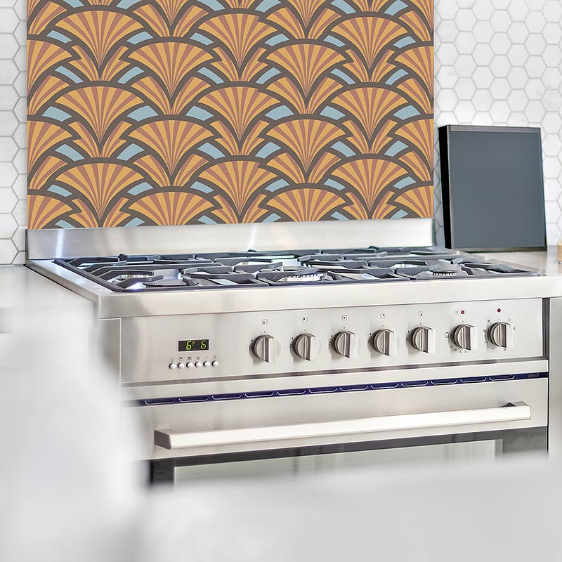 Image of Excelse art deco style pattern glass splashback. Unique glass printed splashbacks design from forthefloorandmore.com