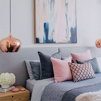 Image of Greys & pinks bedroom from a blog post by For the Floor & More