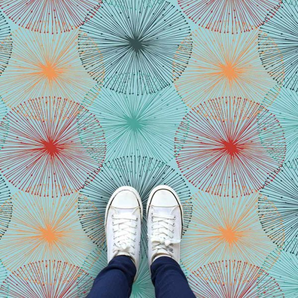 Image of Nerine design as a bright and colourful patterned vinyl flooring from forthefloorandmore.com