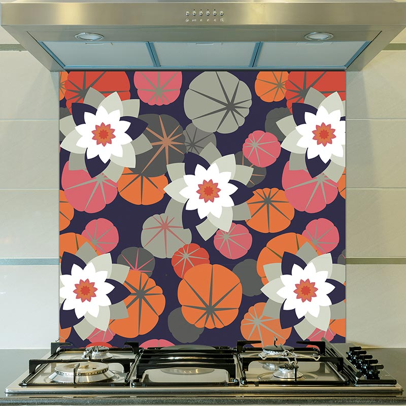 Image of Chloe design as a floral glass splashback designed to add colour and focus to your home.