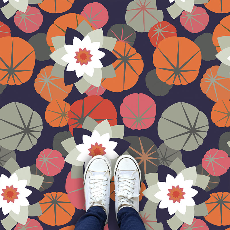 Image of Chloe design as a bright and colourful patterned vinyl flooring from forthefloorandmore.com