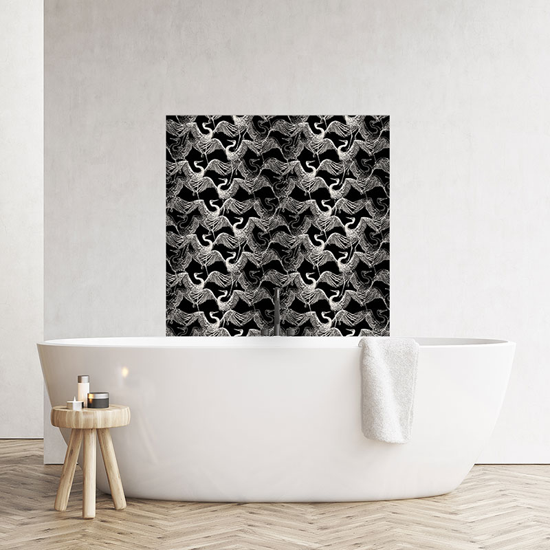 Image of a Black coloured splashback from forthefloorandmore.com