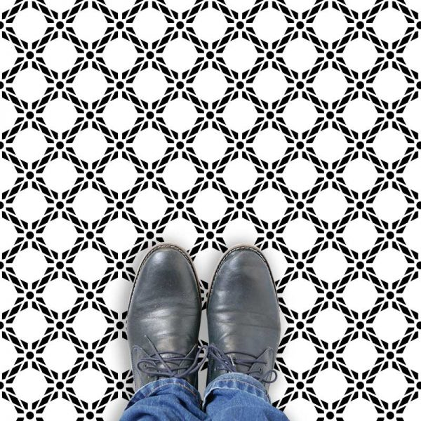 Image of Pavo black bold geometric design. Wonderful geometric vinyl flooring design from forthefloorandmore.com