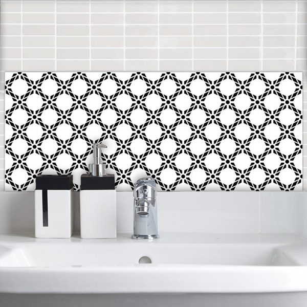 Image of Pavo black bold geometric design. Wonderful geometric Feature wall Tile design from forthefloorandmore.com