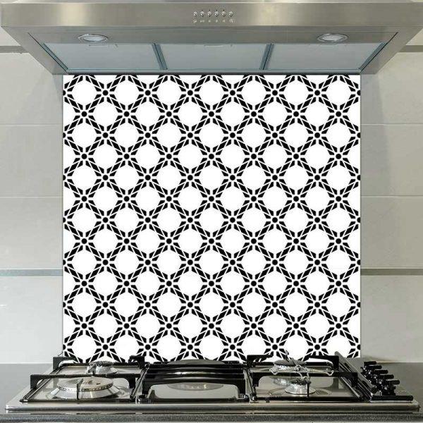 Image of Pavo black & bold geometric design. Wonderful geometric glass patterned splashback design from forthefloorandmore.com