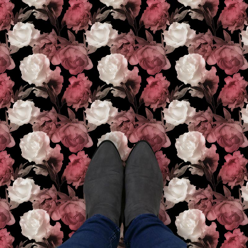 Image of Corinne design as a bright and colourful floral patterned vinyl flooring from forthefloorandmore.com