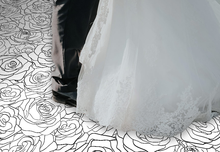 Image of Floral personalised wedding aisle runner from forthefloorandmore.com