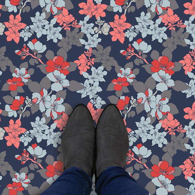 Image of Elsa design as a bright and colourful floral patterned vinyl flooring from forthefloorandmore.com