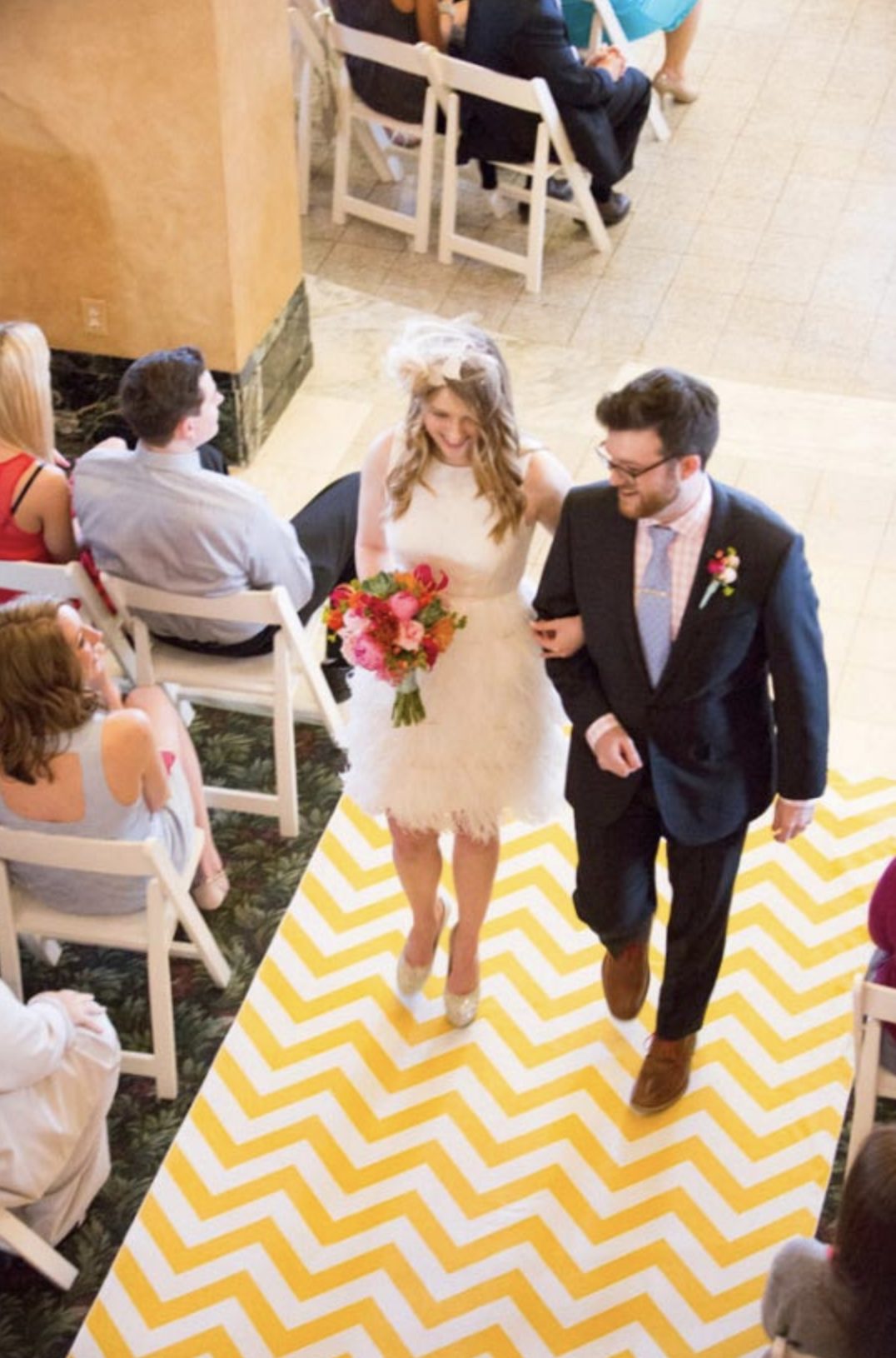 Image of a Geometric pattern wedding aisle runner ideas from forthefloorandmore.com