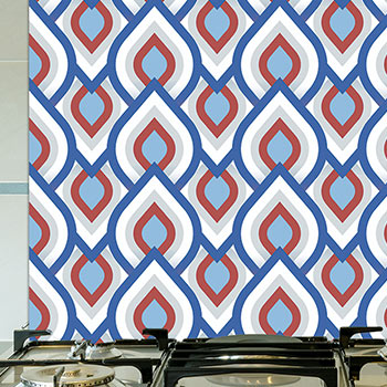 Image showing an Iver pattern splashback used in a blog post about installing glass splashbacks from for the floor and more