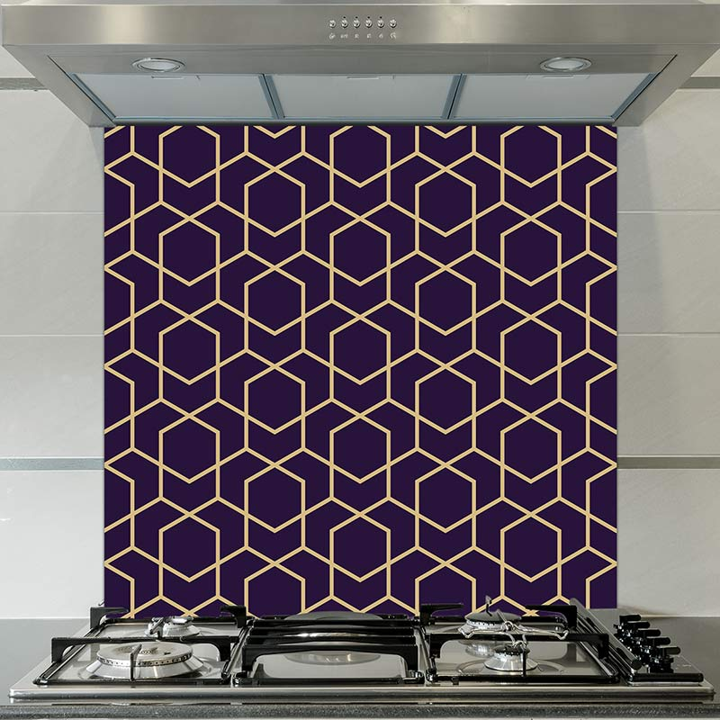 Image of Geo Luxe printed glass splashback pattern design from forthefloorandmore.com