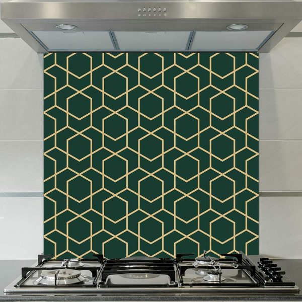 Image of Geo Opus printed glass splashback pattern design from forthefloorandmore.com