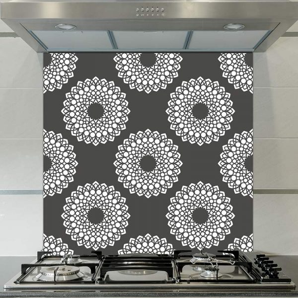 Image of Doki dot printed glass splashback pattern design from forthefloorandmore.com