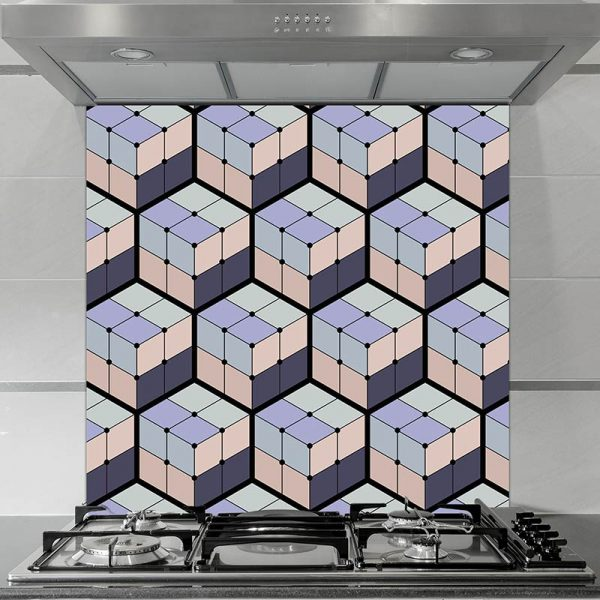 Image of Koko pattern design as a glass printed splashback is all about the cubes and the colour from forthefloorandmore.com