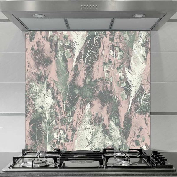 Image of Aadina pattern design as a glass splashback with its delicate gentle feathers from forthefloorandmore.com