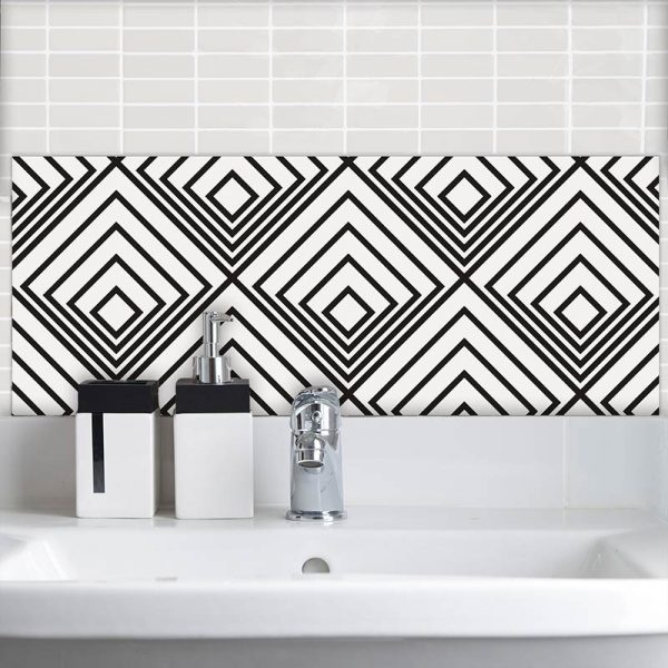 Image of Deko geometric pattern design as a glass Feature Tile with its delicate gentle feathers from forthefloorandmore.com
