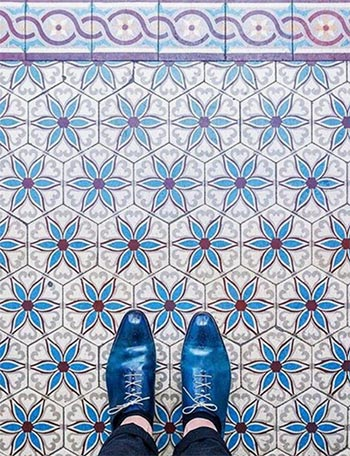 Image of Mosaic tiled floors pattern used in a blog post by For the Floor and More