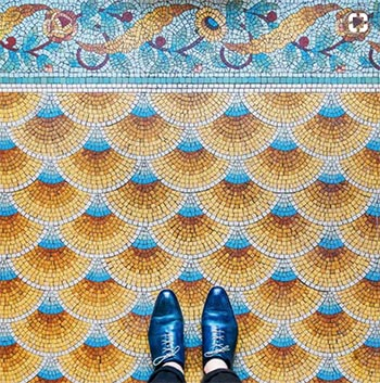 Image of pattern floor mosaic tiles used in a blog post by forthefloorandmore.com