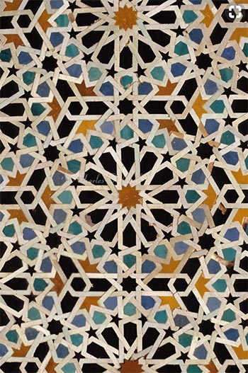 Image of Moroccan pattern tile used in a blog post about tiled floors by forthefloorandmore.com