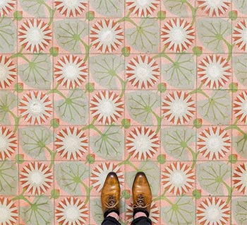 Image of Spanish tile flooring patterns from Barcelona used in a blog post by forthefloorandmore.com
