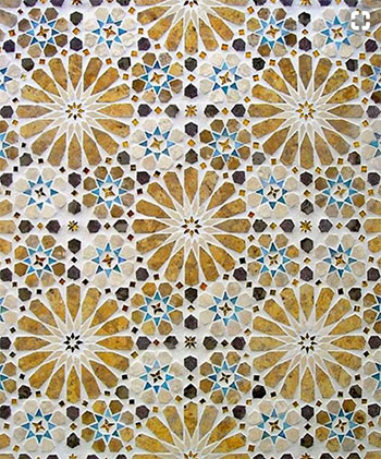 Image of a tiled floor moroccan style tile design used in a blog post by forthefloorandmore.com