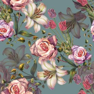 Image of Alida floral pattern for glass splashbacks, Feature Tiles and wallpaper from forthefloorandmore.com