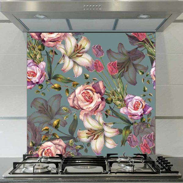 Image of Alida floral pattern design as a glass printed splashback is all about the cubes and the colour from forthefloorandmore.com