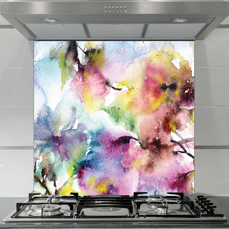 Image of Bellance floral pattern design as a glass printed splashback is all about the cubes and the colour from forthefloorandmore.com