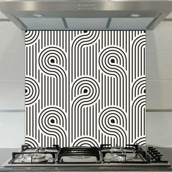 Image of Atik geometric home decor pattern printed as a modern glass splashback from forthefloorandmore.com
