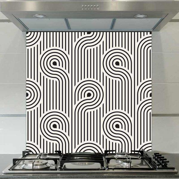 Image of Atik geometric home decor pattern printed as a modern glass splashback from forthefloorandmore.com