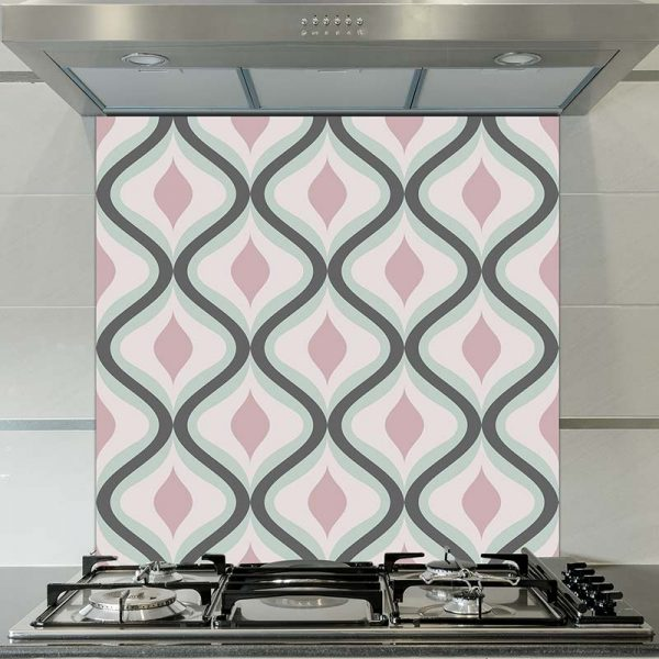 Image of Jolo geometric home decor pattern printed as a modern glass splashback from forthefloorandmore.com