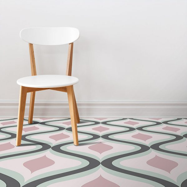Image of our Jolo geometric home decor pattern printed as modern vinyl flooring from forthefloorandmore.com