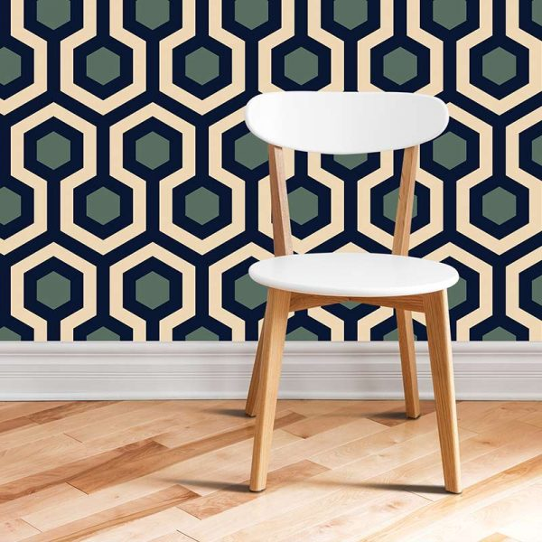 Image of Anser geometric home decor pattern printed as a modern wallpaper design from forthefloorandmore.com
