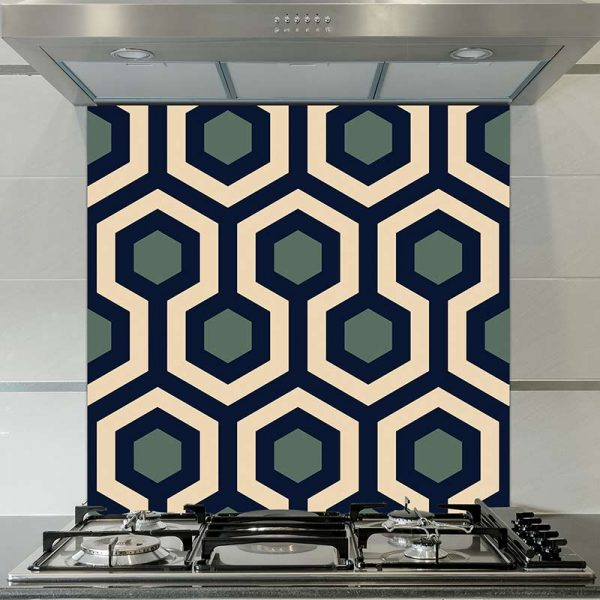 Image of Anser geometric home decor pattern printed as a modern glass splashback from forthefloorandmore.com