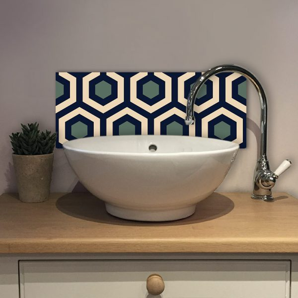 Image of Anser geometric home decor pattern printed as a modern Feature Tile from forthefloorandmore.com