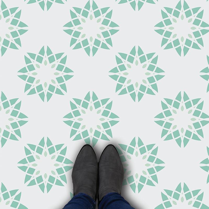 Image of Cerié geometric home decor pattern printed as modern vinyl flooring from forthefloorandmore.com