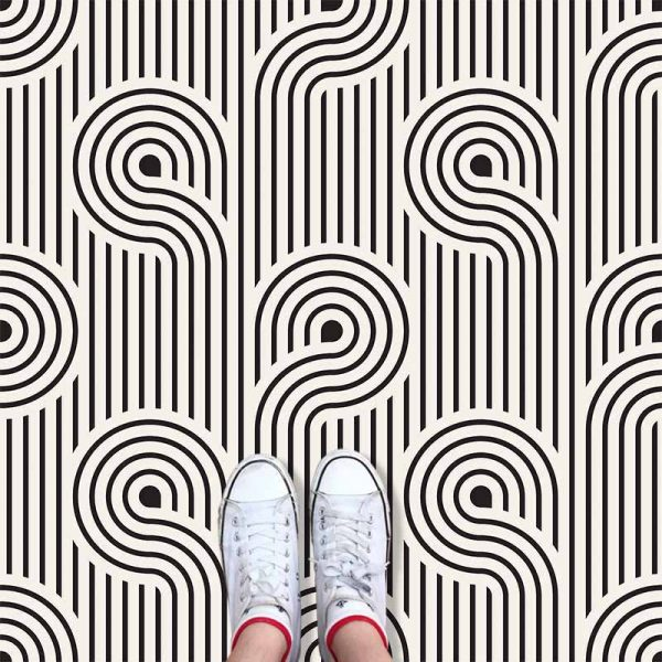 Atik pattern printed geometric flooring exclusively from forthefloorandmore.com