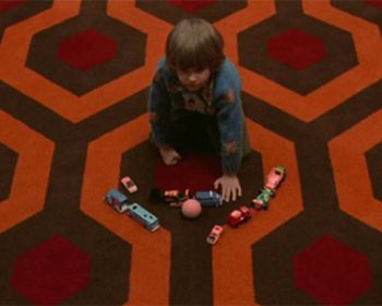 Featured image showing Danbny and the iconic flooring pattern from the movie The Shining used in a blog post by forthefloorandmore.com