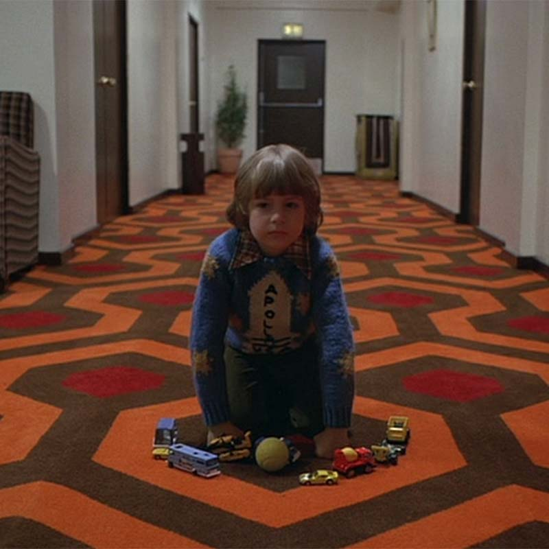 Image of pattern flooring design from the movie The Shining used in a blog post by forthefloorandmore.com