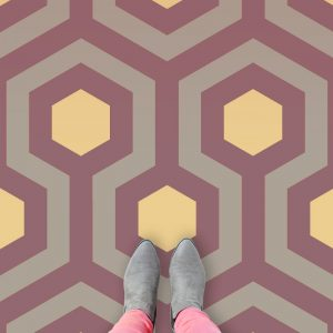 Image showing different variations on our movie The Shining inspired vinyl flooring patterns