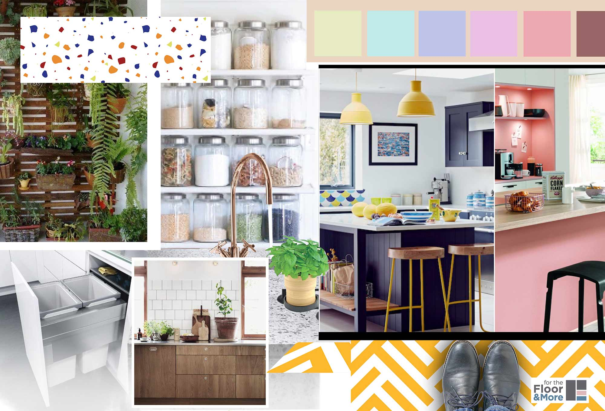 Kitchen_Moodboard image showing ideas and inspiration for SS2018 from forthefloorandmore.com