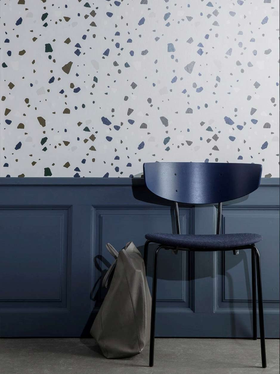 Image of Italian Terrazzo style wallpaper used in a blog post from forthefloorandmore.com