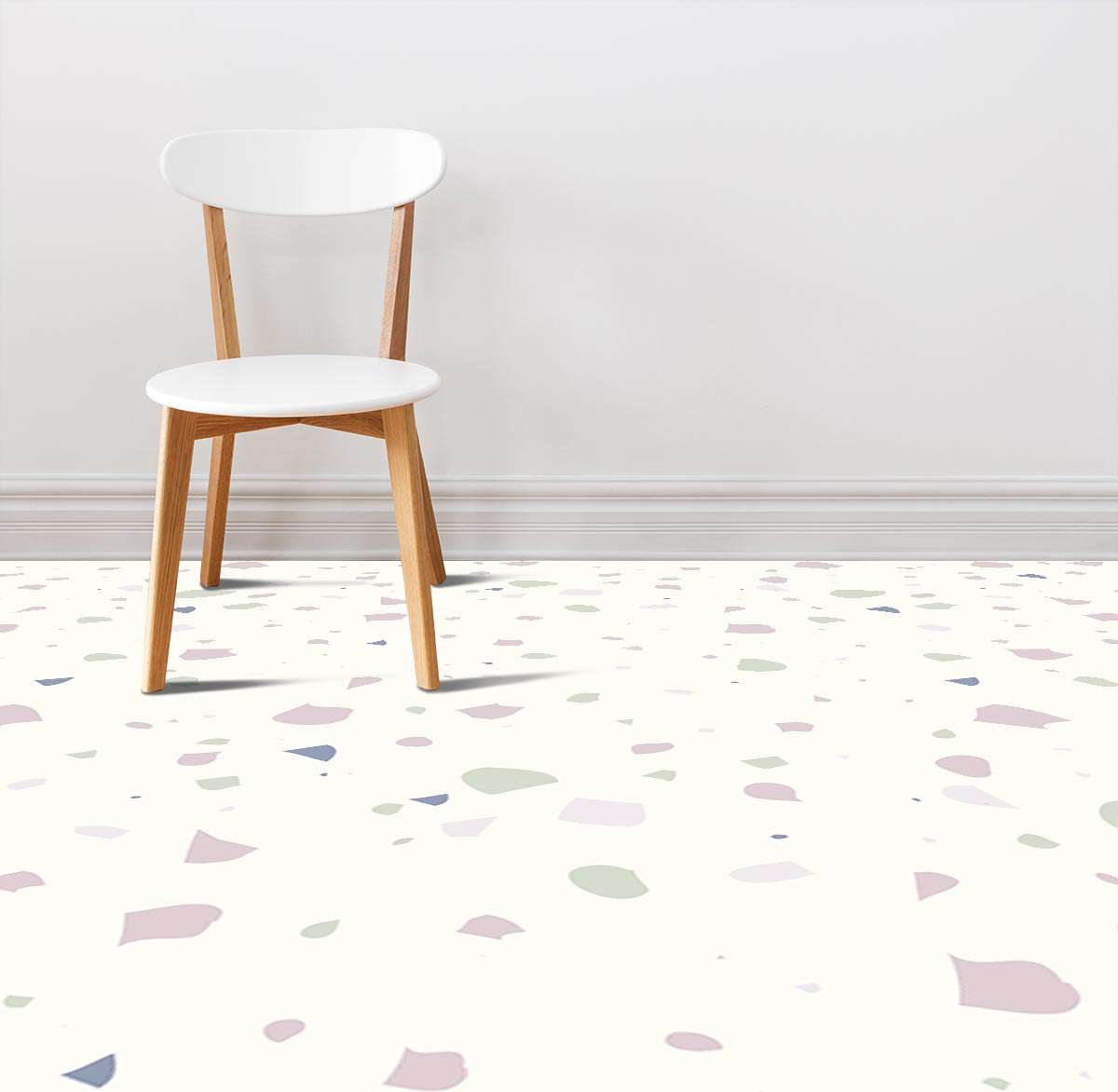 Image of a room with Noemi terrazzo style Italian tile vinyl flooring design by forthefloorandmore.com