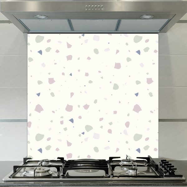 Image of Noemi terrazzo style Italian glass splashback design by forthefloorandmore.com