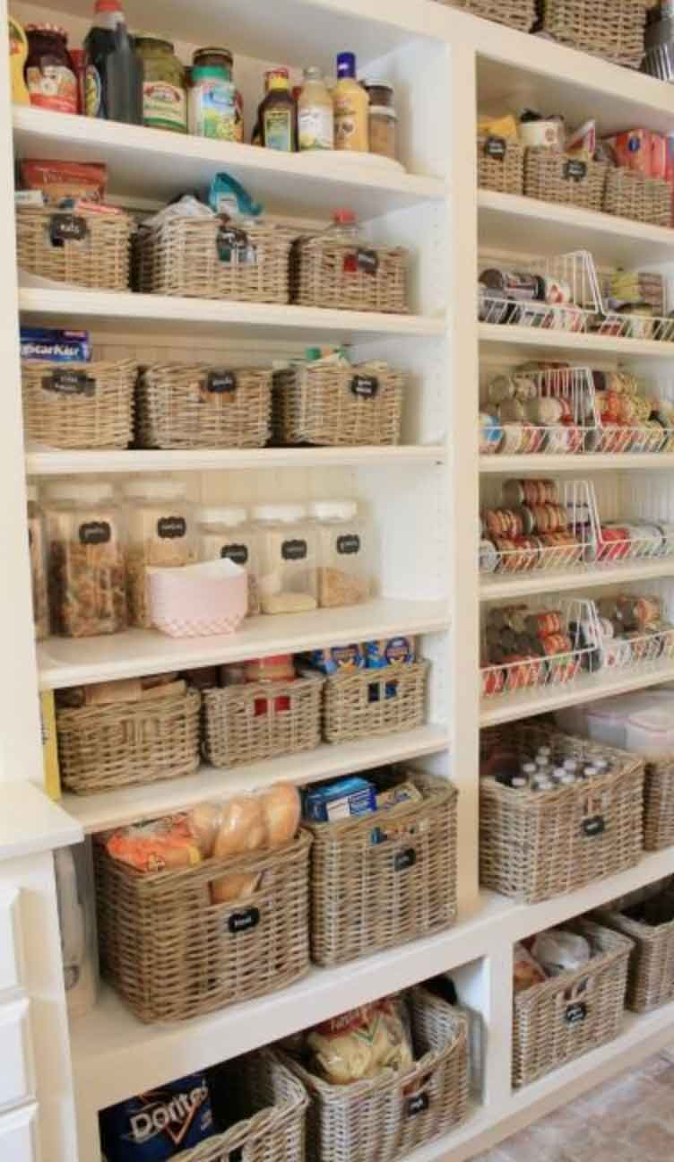 Image of a stocked pantry wall from a blogpost by forthefloorandmore.com