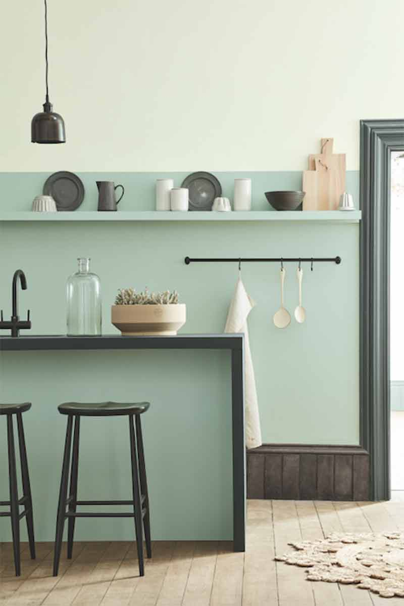 Image of a cool pastel coloured kitchen used in a post by forthefloorandmore.com